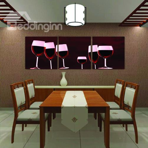 New Arrival Modern Style Red Wine And Wine Glasses Print 3