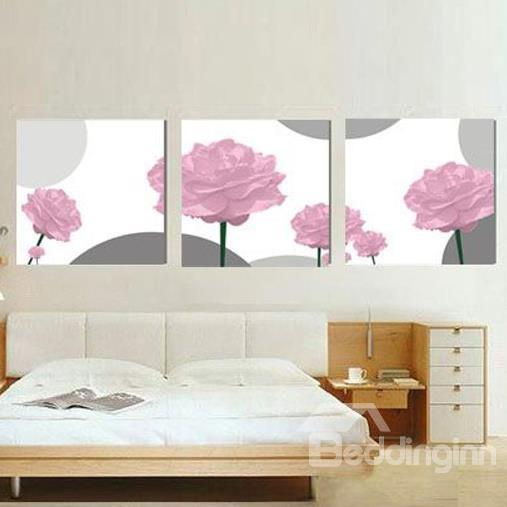 New Arrival Elegant Pink Roses Print 3 Piece Cross Film