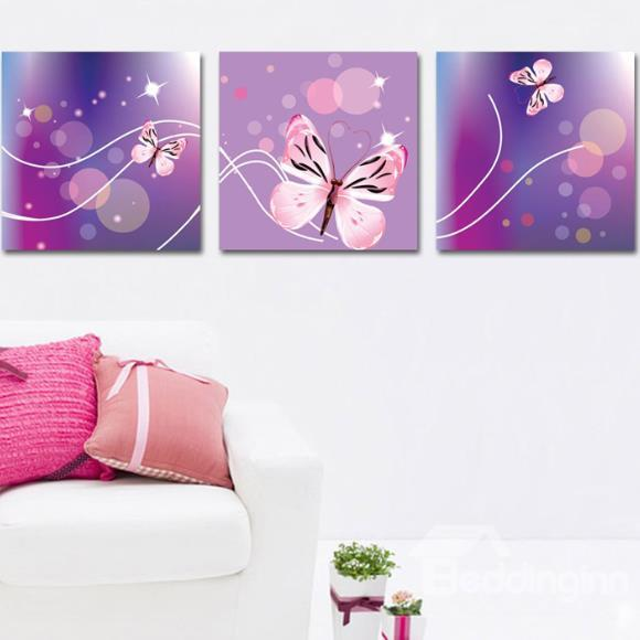 New Arrival Lovely Pink Butterfly Print 3 Piece Cross Film