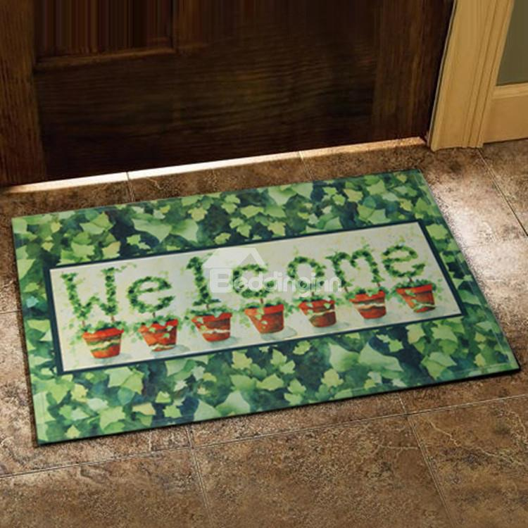 Country Style Fancy Flower Vase And Leaves Print Doormat