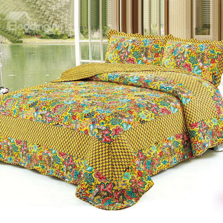 Super Soft Bright Color Flowers Golden Yellow Bed In A Bag