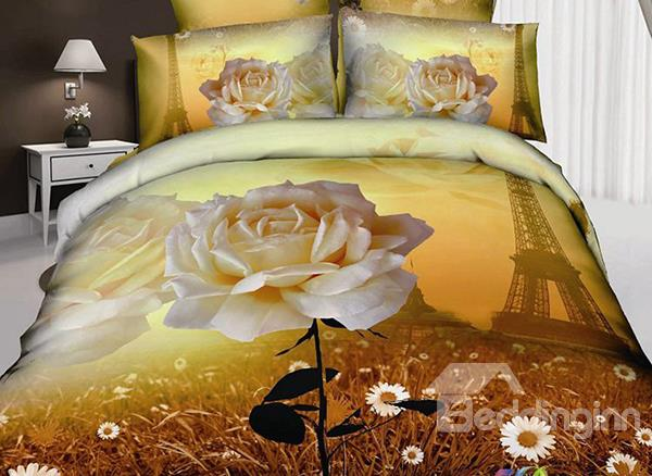 Charming Rose And Eiffel Tower Print 4 Piece Cotton Duvet