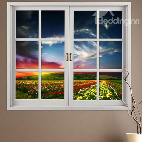 Beautiful Colorful Flowers Field Window View Removable 3d