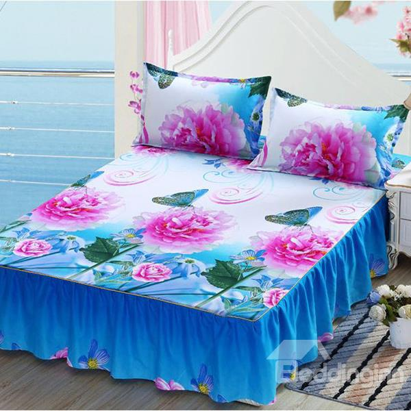 Fancy Pink Rose Printing Blue Cotton Bed Skirt Feel Good
