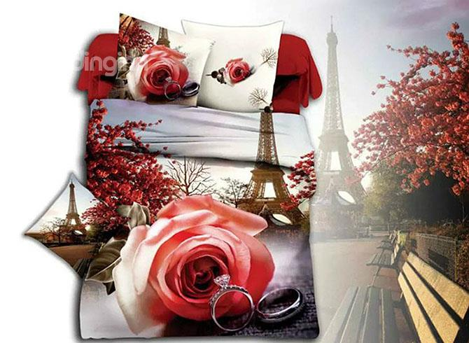 Eiffel Tower Romantic Rose Amp Ring Print 4 Piece Duvet