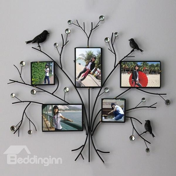 Black king bed frames - Simple Creative Iron Tree Design With Black Birds 5 Frame Wall Photo