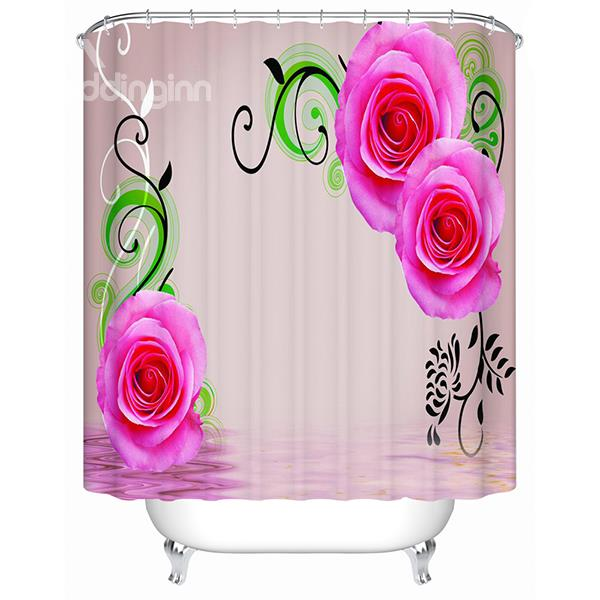 Fashion Concise Design Pink Rose 3d Shower Curtain Feel