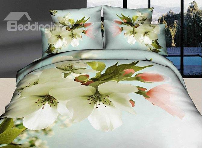 Snow White Pear Blossom Print Cotton 4 Piece Duvet Cover