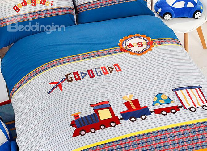 Cute Letter And Train Print Cotton 3 Piece Kids Duvet